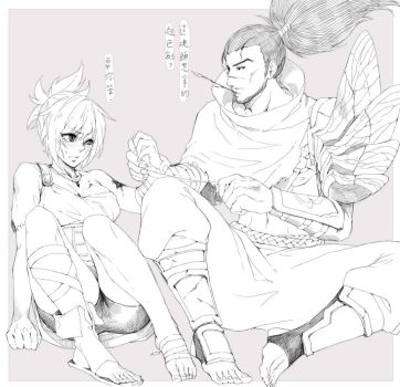 Yasuo X Riven doodle by Kair030