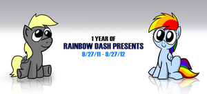Rainbow Dash Presents - 1-Year Anniversary by petirep