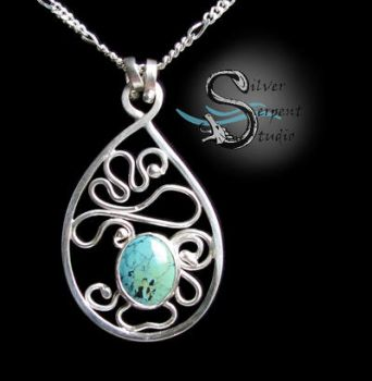 Turquoise Filigree Pendant by PurlyZig
