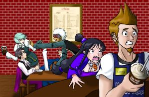 Phoenix Wright: At the Cafe by androidgirl