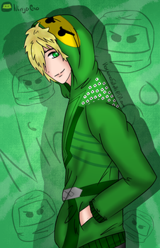 Lloyd Garmadon wearing his own hoodie by MarianaSpaghetti