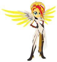 Sunset Shimmer as Mercy [Overwatch] by sonofaskywalker