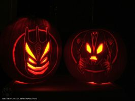 Gresh and Vorox pumpkin lanterns by Pearllight180