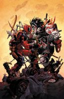Lobo vs Deadpool by ReillyBrown