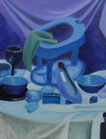 FINT103 Oil Painting 3: Monochromatic Blue by BrielleCoppola