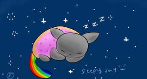 sleepy day of nyan cat by Nyan-Tortik