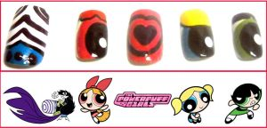 Powerpuff Girls Nails by OMG-itz-J3551K4