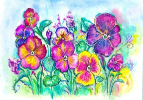 Pansies From My Grandfather's Garden by LIDIAMARINA