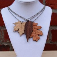 Wooden Leaf Pendants by DracoLoricatus