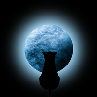 STOCK-Blue Moon with glow w/cat silhouette by Viktoria-Lyn