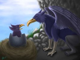 Gryphon hatchling by Nyffetyff