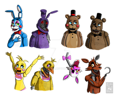 Fnaf old and new by drzombiefox