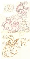 Atomic Robo Sketches with Dr Dinosaur and Boobs by neilak20