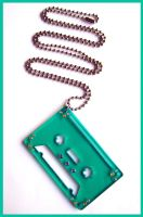 Trans. Green Tape Necklacklace by cherryboop