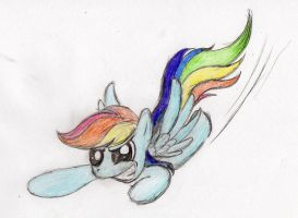 Rainbow Dash in a hurry by otto720
