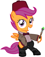 Scootaloo as the 11th Doctor (with fez) by SilverMapWolf