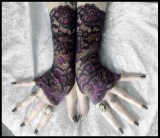 Abelina Long Lace Fingerless Gloves by ZenAndCoffee