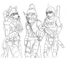 (Sketch) Three Soldiers by Specter1099