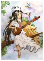 Ah My Goddess: Singing Skuld by moonlightamber