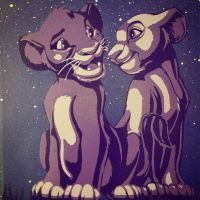 simba and nala lion king spray paint stencil by toolowbrow