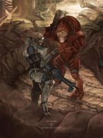 Commission - Garrus and Wrex by Weissidian