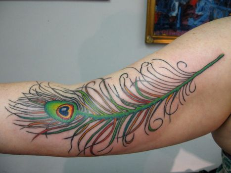 Green Peacock Feather by eliq-tattoo