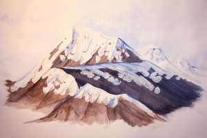 Watercolour Snowy Mountains by carrie-warwick
