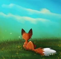 Fox Watching Lampwings by The-Starhorse