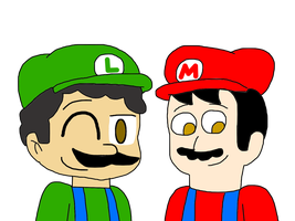 Admin2845 and Me as Mario and Luigi by MarcosLucky96