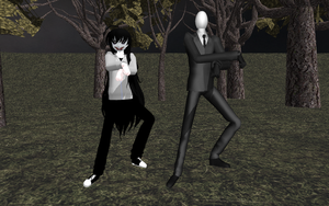 MMD Jeff The Killer + Slendy OPPA GANGNAM STYLE by NecroMasterSyl