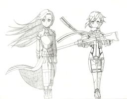 Kirito and Sinon  WIP by Hahc3Shadow