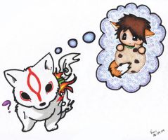 Okami wanna a cookie by karidcha