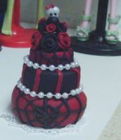 Red and Black Wedding Cake by Shadow-People