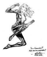 Black Widow sketch - Nimes May 2012 by SpiderGuile