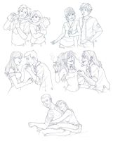 Couples Sketch Commishes by AmyClark