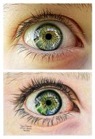 Eye Drawing vs Photograph by MsTemmii