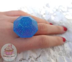 Blue galaxy Chunky adjustible resin ring by SomethinSweet