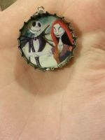 nightmare before Christmas bottle cap necklace by DevastationRises