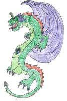 Green Dragon (colored) for Ibui-Ampora by KagamineLink