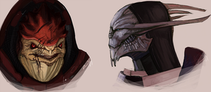 ME: Wrex and Saren Speedpaints by Vaahlkult