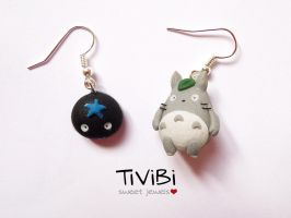Totoro and Sootball | Clay earrings by tivibi