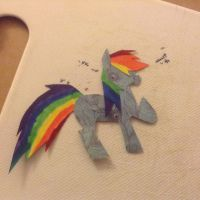 Rainbow dash kirigami by beebrat5953