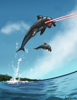 Cyborg Dolphin with Laser Eyes by Harpo-exe