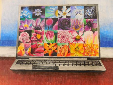 Laptop and Flowers by Goldenfurproduction
