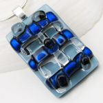 Blue Dichroic Glass Pendant by GlassElation