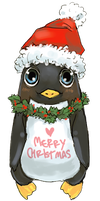 Xmas penguin wishes merry Xmas by O-Kei