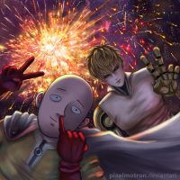 One Punch Man 2016 New Year's selfie by pixelmotron