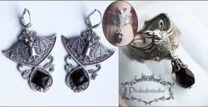 Set of vampire bat ring n earrings by Pinkabsinthe