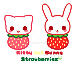 Kitty and Bunny strawberries by H--neko