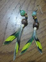 Budgie feather earrings by DarkUmah